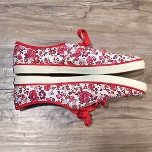 Keds Red,Purple, Pink Floral Ribbon Lace Shoe 8.5